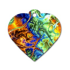 Abstract Fractal Batik Art Green Blue Brown Dog Tag Heart (one Side) by EDDArt