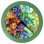 Abstract Fractal Batik Art Green Blue Brown Color Wall Clocks