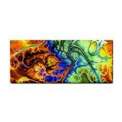 Abstract Fractal Batik Art Green Blue Brown Hand Towel by EDDArt
