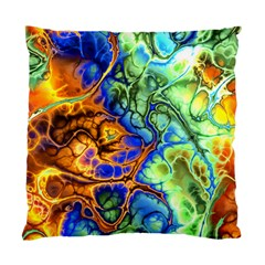 Abstract Fractal Batik Art Green Blue Brown Standard Cushion Case (one Side) by EDDArt