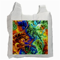 Abstract Fractal Batik Art Green Blue Brown Recycle Bag (one Side) by EDDArt