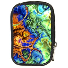 Abstract Fractal Batik Art Green Blue Brown Compact Camera Cases by EDDArt