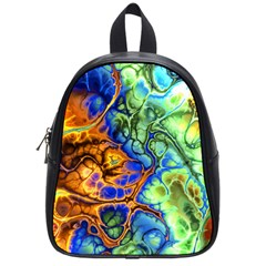 Abstract Fractal Batik Art Green Blue Brown School Bags (small)  by EDDArt