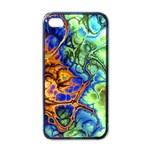 Abstract Fractal Batik Art Green Blue Brown Apple iPhone 4 Case (Black)