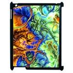 Abstract Fractal Batik Art Green Blue Brown Apple iPad 2 Case (Black)