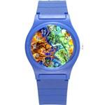 Abstract Fractal Batik Art Green Blue Brown Round Plastic Sport Watch (S)