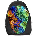 Abstract Fractal Batik Art Green Blue Brown Backpack Bag