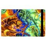 Abstract Fractal Batik Art Green Blue Brown Apple iPad 2 Flip Case