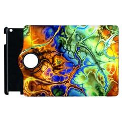Abstract Fractal Batik Art Green Blue Brown Apple Ipad 3/4 Flip 360 Case by EDDArt