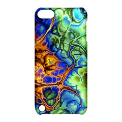 Abstract Fractal Batik Art Green Blue Brown Apple Ipod Touch 5 Hardshell Case With Stand by EDDArt