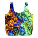 Abstract Fractal Batik Art Green Blue Brown Full Print Recycle Bags (L)