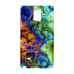 Abstract Fractal Batik Art Green Blue Brown Samsung Galaxy Note 4 Hardshell Case by EDDArt