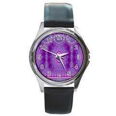 India Ornaments Mandala Pillar Blue Violet Round Metal Watch by EDDArt