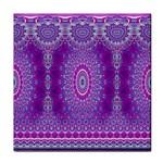 India Ornaments Mandala Pillar Blue Violet Tile Coasters