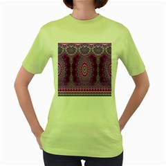 India Ornaments Mandala Pillar Blue Violet Women s Green T Shirt by EDDArt