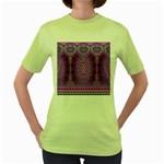 India Ornaments Mandala Pillar Blue Violet Women s Green T-Shirt