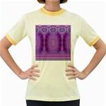 India Ornaments Mandala Pillar Blue Violet Women s Fitted Ringer T-Shirts