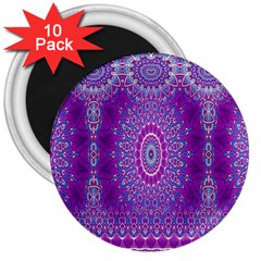 India Ornaments Mandala Pillar Blue Violet 3  Magnets (10 Pack)  by EDDArt