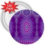 India Ornaments Mandala Pillar Blue Violet 3  Buttons (100 pack)