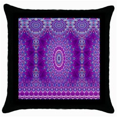 India Ornaments Mandala Pillar Blue Violet Throw Pillow Case (black) by EDDArt