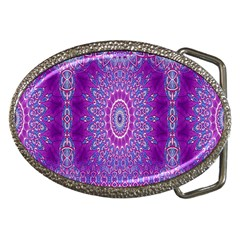 India Ornaments Mandala Pillar Blue Violet Belt Buckles by EDDArt