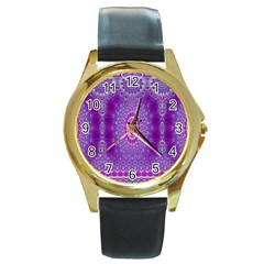 India Ornaments Mandala Pillar Blue Violet Round Gold Metal Watch by EDDArt