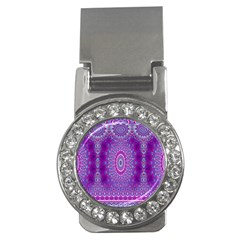 India Ornaments Mandala Pillar Blue Violet Money Clips (cz)  by EDDArt