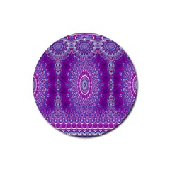 India Ornaments Mandala Pillar Blue Violet Rubber Coaster (round)  by EDDArt