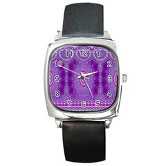 India Ornaments Mandala Pillar Blue Violet Square Metal Watch by EDDArt