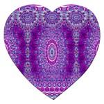 India Ornaments Mandala Pillar Blue Violet Jigsaw Puzzle (Heart)
