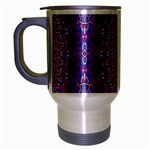 India Ornaments Mandala Pillar Blue Violet Travel Mug (Silver Gray)