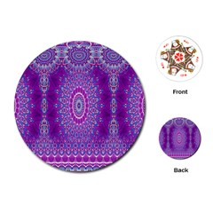India Ornaments Mandala Pillar Blue Violet Playing Cards (round)  by EDDArt