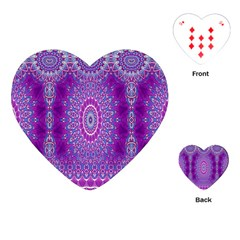 India Ornaments Mandala Pillar Blue Violet Playing Cards (heart)  by EDDArt