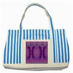 India Ornaments Mandala Pillar Blue Violet Striped Blue Tote Bag