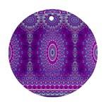 India Ornaments Mandala Pillar Blue Violet Round Ornament (Two Sides)