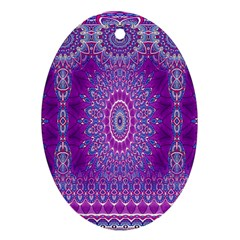 India Ornaments Mandala Pillar Blue Violet Oval Ornament (two Sides) by EDDArt