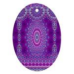 India Ornaments Mandala Pillar Blue Violet Oval Ornament (Two Sides)