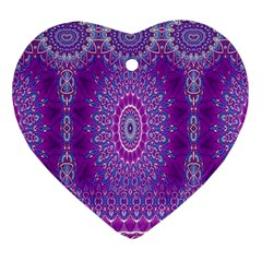 India Ornaments Mandala Pillar Blue Violet Heart Ornament (2 Sides) by EDDArt