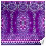India Ornaments Mandala Pillar Blue Violet Canvas 12  x 12