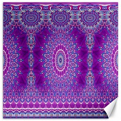India Ornaments Mandala Pillar Blue Violet Canvas 16  X 16   by EDDArt