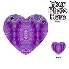 India Ornaments Mandala Pillar Blue Violet Playing Cards 54 (heart)  by EDDArt