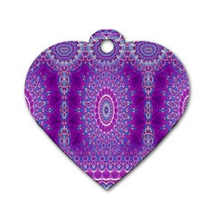 India Ornaments Mandala Pillar Blue Violet Dog Tag Heart (one Side) by EDDArt