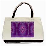 India Ornaments Mandala Pillar Blue Violet Basic Tote Bag (Two Sides)