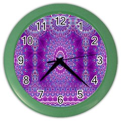India Ornaments Mandala Pillar Blue Violet Color Wall Clocks by EDDArt
