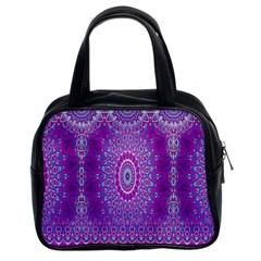 India Ornaments Mandala Pillar Blue Violet Classic Handbags (2 Sides) by EDDArt