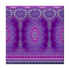 India Ornaments Mandala Pillar Blue Violet Face Towel by EDDArt