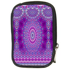 India Ornaments Mandala Pillar Blue Violet Compact Camera Cases by EDDArt