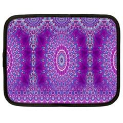 India Ornaments Mandala Pillar Blue Violet Netbook Case (xl)  by EDDArt