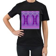 India Ornaments Mandala Pillar Blue Violet Women s T Shirt (black) by EDDArt