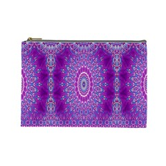 India Ornaments Mandala Pillar Blue Violet Cosmetic Bag (large)  by EDDArt